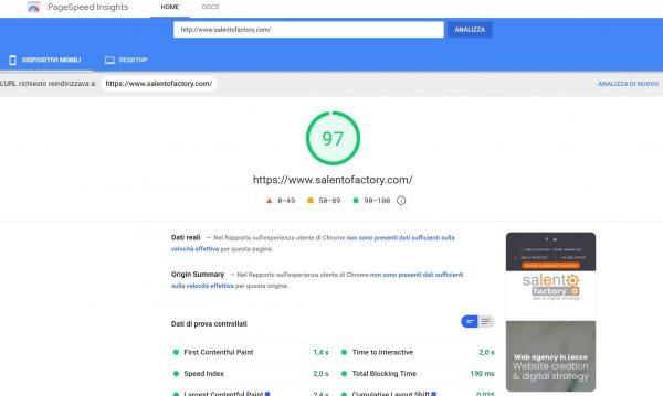 Velocità di apertura di un sito web